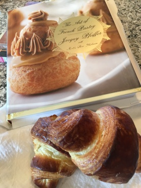 croissants and book